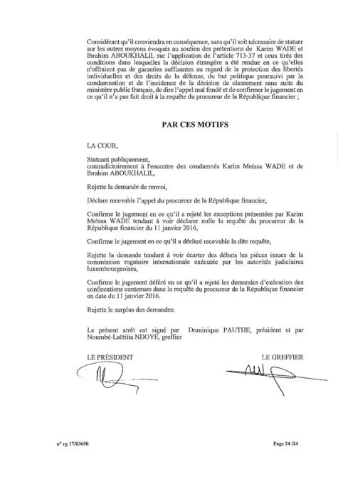 EXCLUSIF Karim Wade : l'intégralité de la décision Cour d'Appel de Paris, entre manipulation et mauvaise foi des avocats