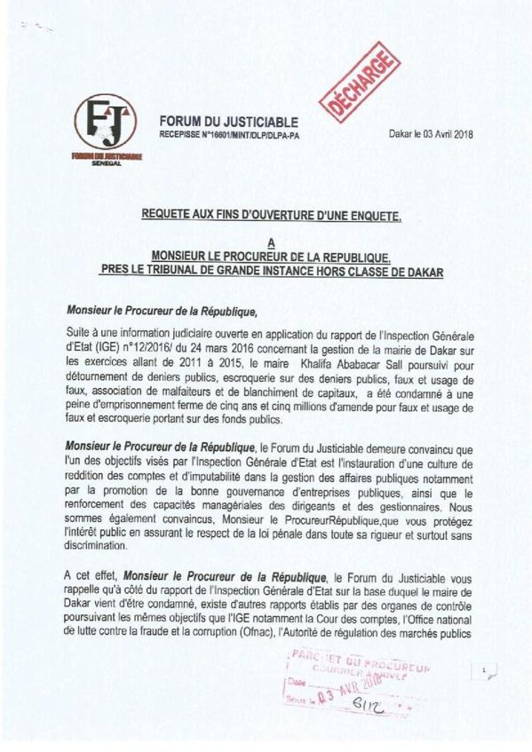 Rapports sur Petrotim, Bictogo, Securiport, King Fahd Hôtel, COUD : Une requête aux fins d'enquête sur la table du Procureur de la République