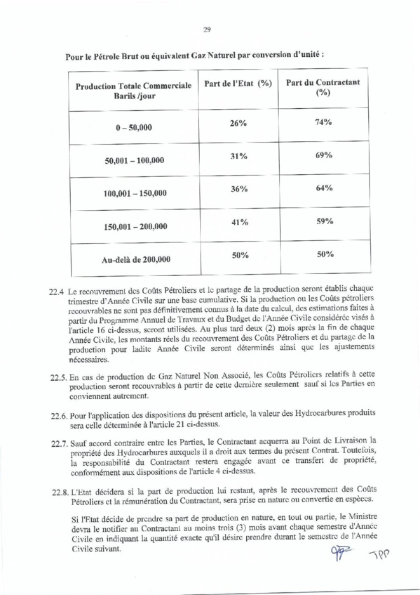 """Contrat de recherche et de partage de production d'hydrocarbure """" Rufisque Offshore"""" entre l'Etat du Sénégal et Total (Part 2)"""