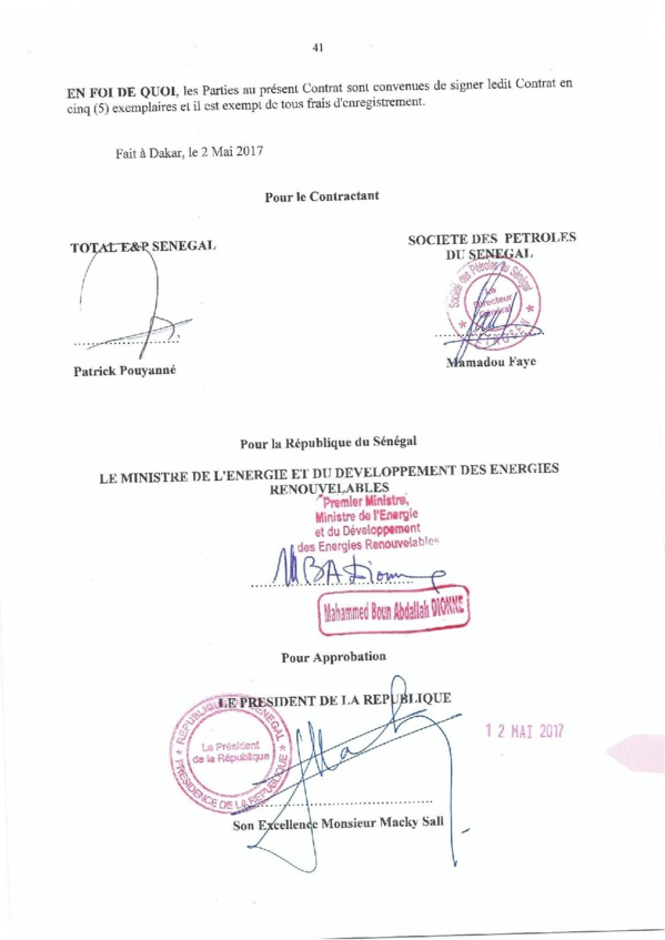 """Contrat de recherche et de partage de production d'hydrocarbure """" Rufisque Offshore"""" entre l'Etat du Sénégal et Total (Part 3 et fin)"""