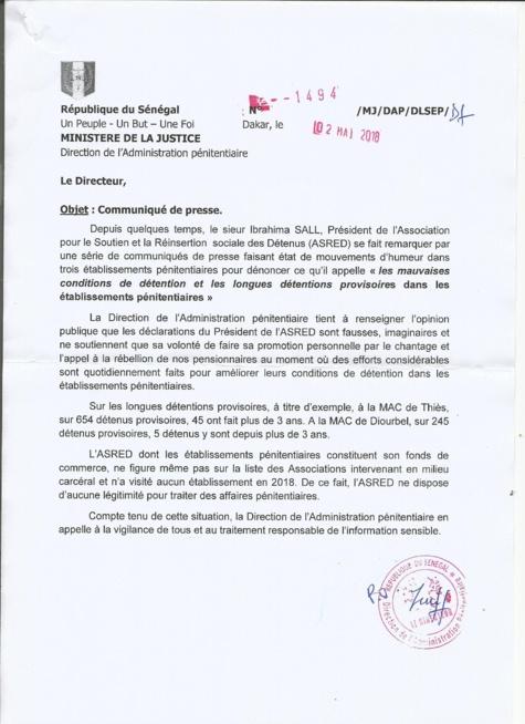 """""""Les communiqués de presse de Ibrahima Sall (président d'ASRED) sont faux et imaginaires"""" (La Direction de l'Administration pénitentiaire)"""