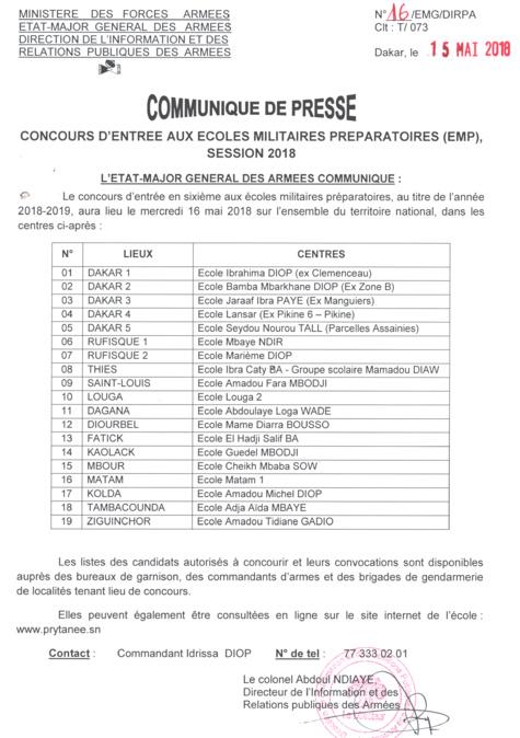 Le concours d'entrée en sixième en écoles militaires préparatoires  (EMP) aura lieu ce mercredi 16 mai
