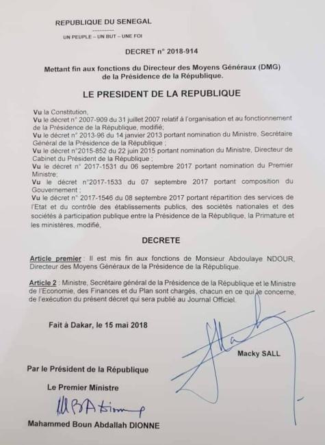Macky Sall met fin aux fonctions d'Abdoulaye Ndour, le Directeur des moyens généraux (DMG) de la Présidence de la République