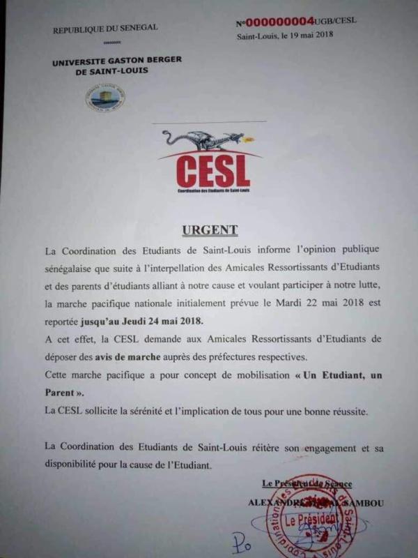 La coordination des étudiants de Saint-Louis (CESL) se démarque du Pds ( Démenti )
