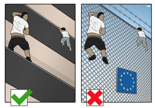 """""""Mon dessin tente de souligner l'hypocrisie des Européens"""", nous dit le dessinateur Tjeerd Royaards."""