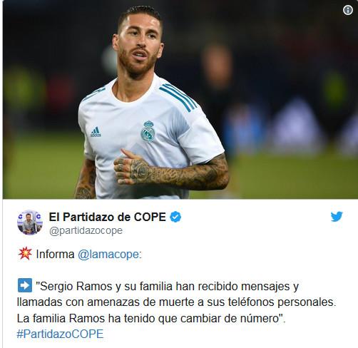 Real Madrid: Menacé de mort après avoir blessé Salah, Ramos change de numéro de téléphone
