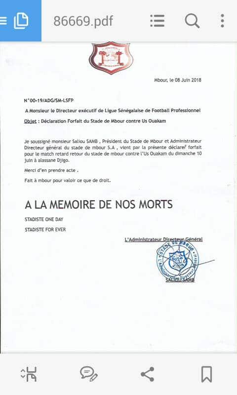 Dernière minute: Stade de Mbour déclare forfait contre Ouakam pour le match de ce dimanche