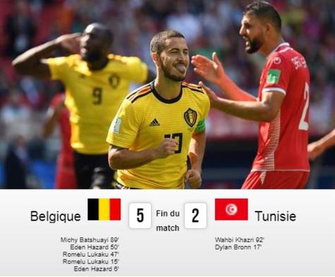 Mondial 2018 : la Belgique sans pitié face la Tunisie (5-2)