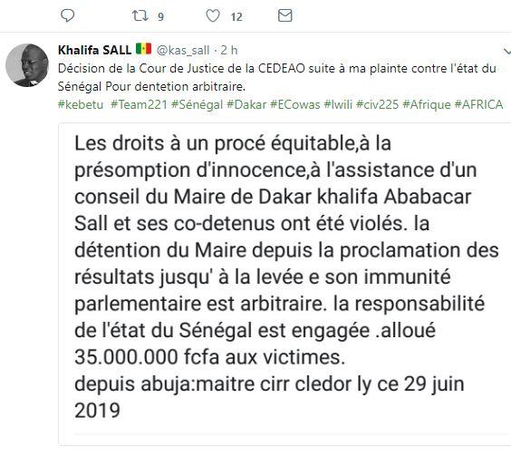 Saisine Cour de justice de la CEDEAO par Khalifa Sall : l'avocat Ciré Clédor Ly donne le verdict d'Abuja