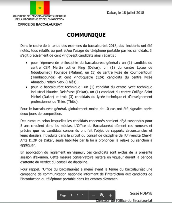 Candidats exclus : L'Office du Bac dément la suspension de 5 ans