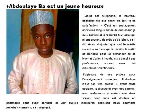 Matam : Admis au Bac avec la Mention Très Bien, Chapeau Bâ Abdoulaye