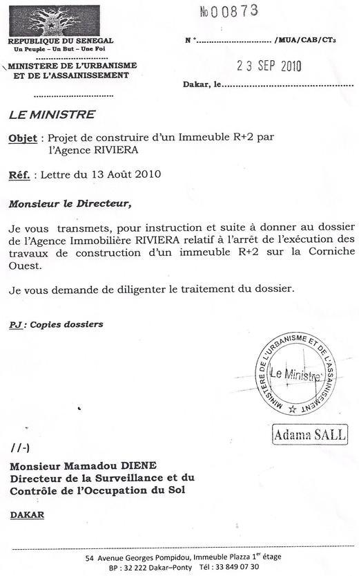 Le Ministre Adama Sall et l'Agence Riviera cités dans un scandale