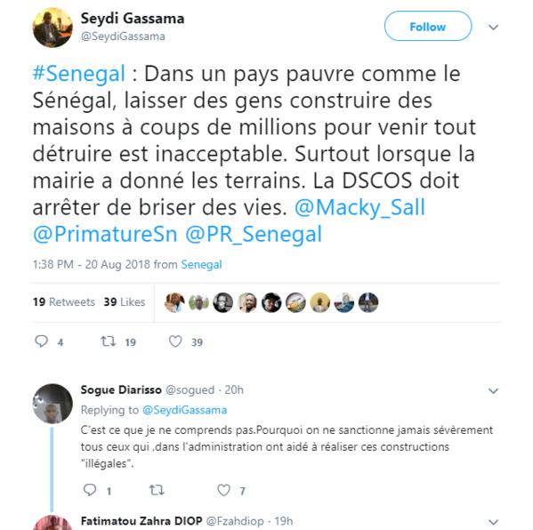 Démolition des maisons à Diamniadio: Seydi Gassama réagit : « La DSCOS doit arrêter de briser des vies »