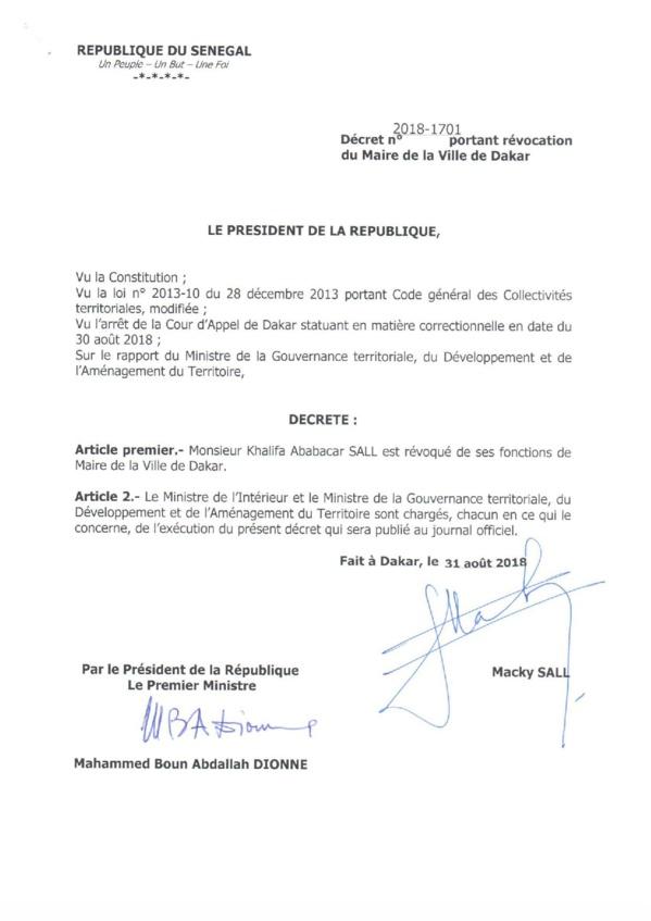 URGENT : Maire de la ville de Dakar, Khalifa Sall, révoqué de ses fonctions de Maire de Dakar via décret