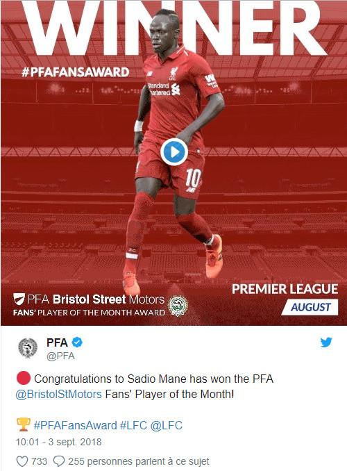 Sadio Mané remporte le titre de meilleur joueur du mois d'août