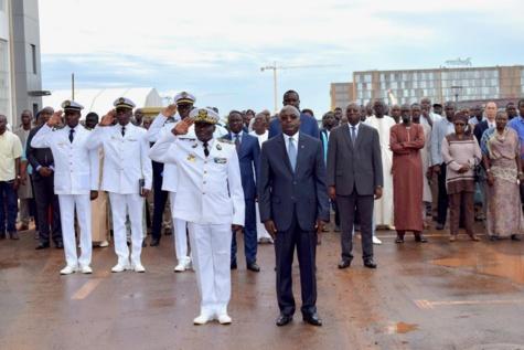 IMAGES - Cérémonie de levée des couleurs avec la Marine nationale, au Ministère de la Pêche à Diamniadio