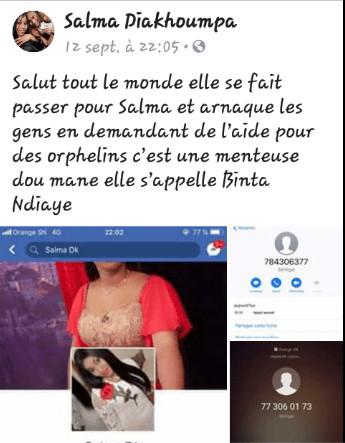 Photos : Découvrez Binta Ndiaye, cette arnaqueuse du net qui se fait passer pour Salma Diakhoumpa en demandant de l'aide pour des orphelins