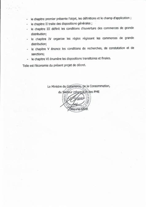 Rapport de présentation du Décret 2018 1888 réglementant les commerces de grande distribution au Sénégal (document)