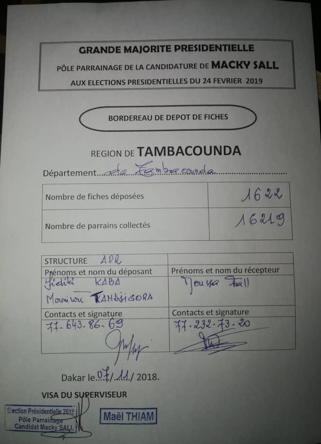 Parrainage du Président Macky Sall, la région de Tambacounda en tête