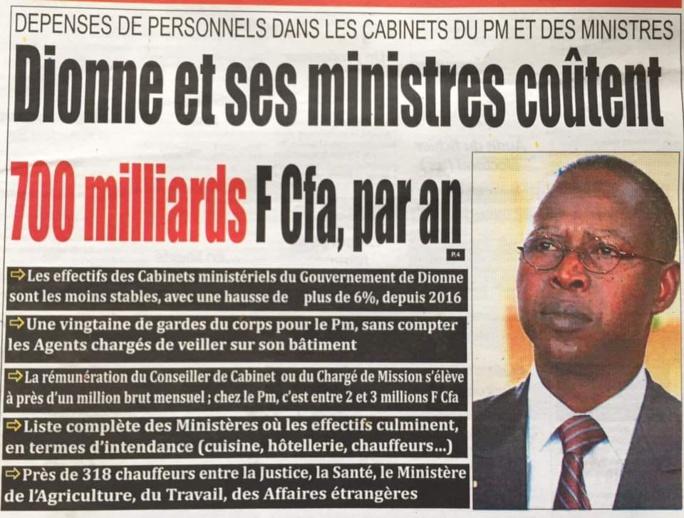 Amalgame : 743,41 milliards FCFA, c'est la masse salariale de toute l'administration sénégalaise et non les indemnités des cabinets ministériels (Investigations)