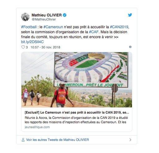 Le Cameroun perd l'organisation de la Coupe d'Afrique des nations 2019