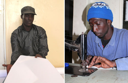 Badara Tall (à gauche) coupe les tissus pour les cerfs-volants et Babacar Fall (à droite) les assemble. Photos: Stéphane Blanco.