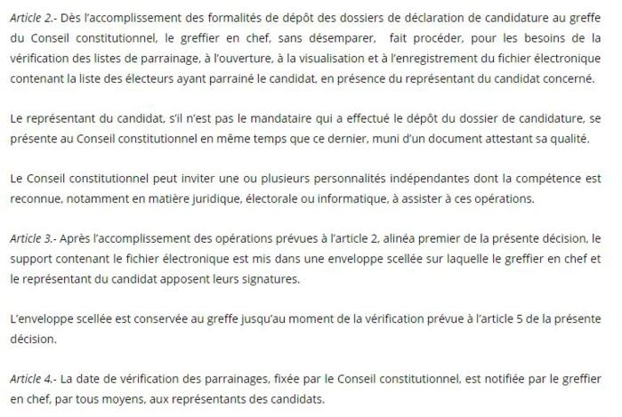 Décision n°1/2018 portant mise en place d'un dispositif de vérification des parrainages et fixant les modalités de son fonctionnement (document)