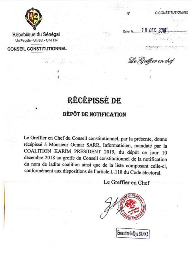 Urgent : Karim Wade a reçu son récépissé !