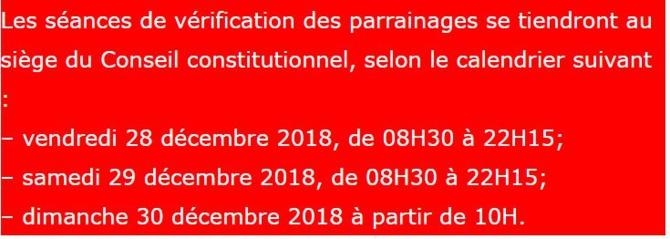 Vérification des parrainages : Le Conseil constitutionnel fixe le calendrier