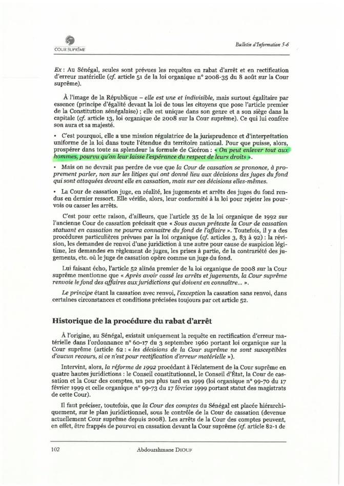 La Cour suprême confirme que le rabat d'arrêt est suspensif  (par Seybani Sougou)