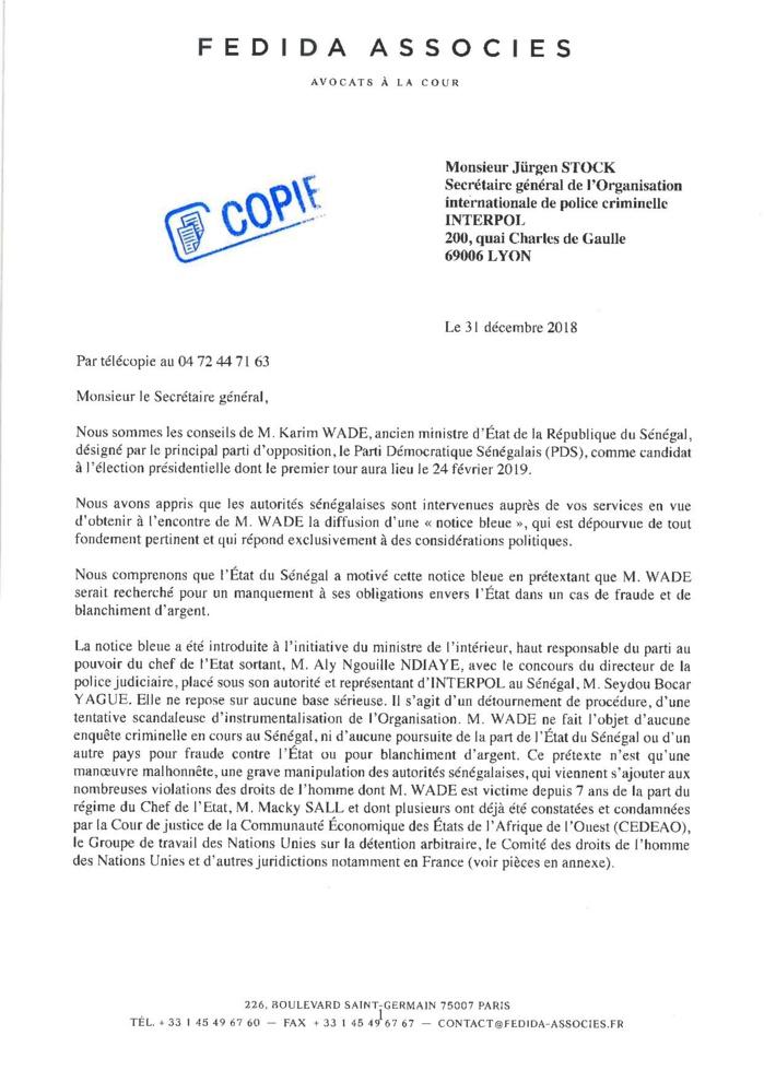 URGENT : La lettre des avocats de Karim Wade à Interpol