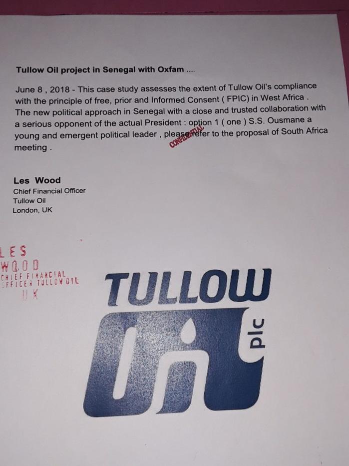 Ces documents de Tullow Oil compromettants pour Ousmane Sonko