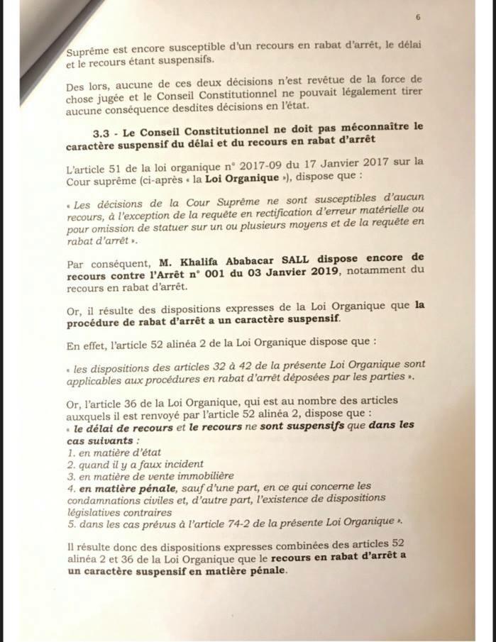 Invalidation de sa candidature au Conseil constitutionnel : l'intégralité du recours de Khalifa Sall (Document)