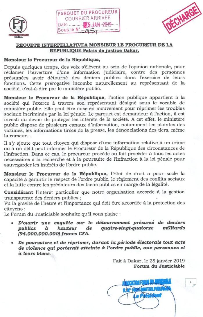 Affaire des 94 milliards : Le Forum du Justiciable envoie une requête interpellative au Procureur de la République