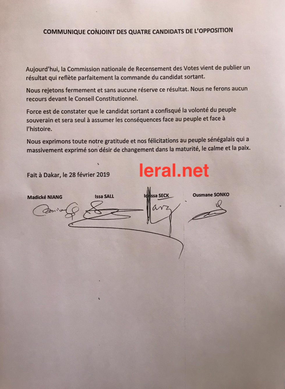 Photos : Idrissa Seck a signé la déclaration commune des candidats de l'opposition