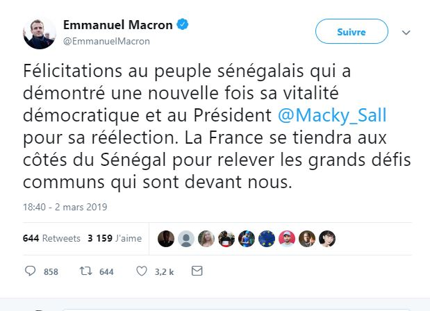 Emmanuel Macron félicite Macky Sall sur Twitter