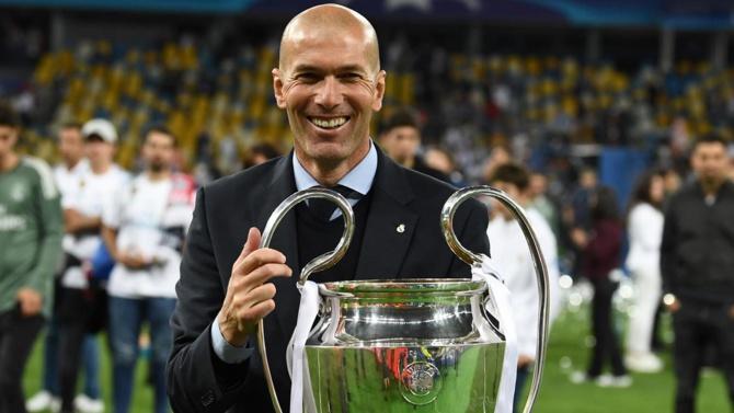 Zinedine Zidane, le 26 mai 2018, après la victoire du Real face à Liverpool en finale de la Ligue des champions. - AFP