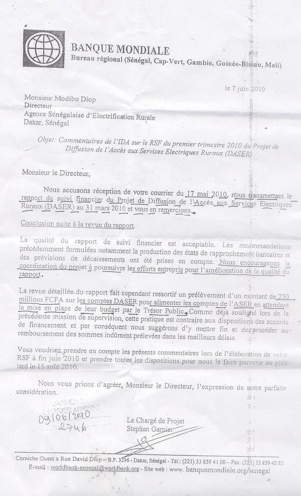 ASER : Quand la Banque Mondiale félicitait Modibo DIOP 3 jours avant son limogeage !!! ( Mouhamed Sarr DIA )