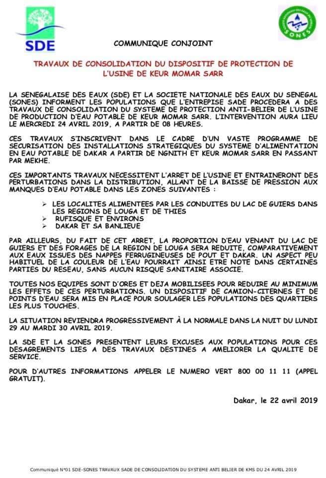 Longue pénurie d'eau à Dakar:  L'usine  de Keur Momar Sarr à l'arrêt pour 6 jours (document)