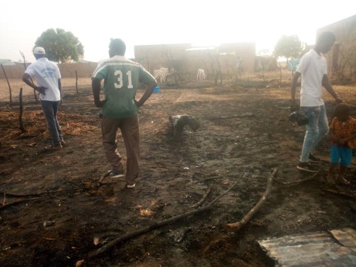 Images de l'incendie dans le village Kossy Aly Gueye