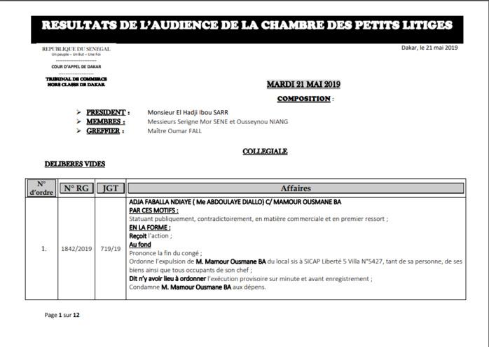 Chambre des petits litiges: Résultats des délibérés vidés le mardi 21 mai 2019