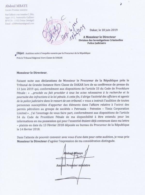 Affaire Petro-Tim: Abdoul Mbaye adresse une lettre  à la Dic pour...
