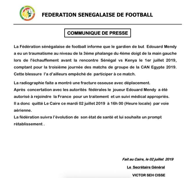 Can 2019: Édouard Mendy a quitté la Tanière