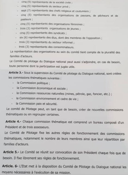 Dialogue national – Le document qui fixe tout