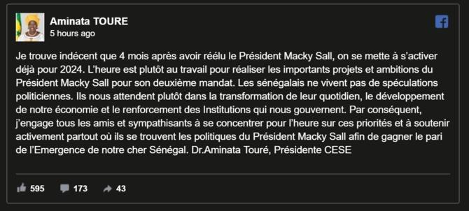 A. TOURE: « Je trouve indécent que 4 mois après avoir réélu le Président Macky Sall… »