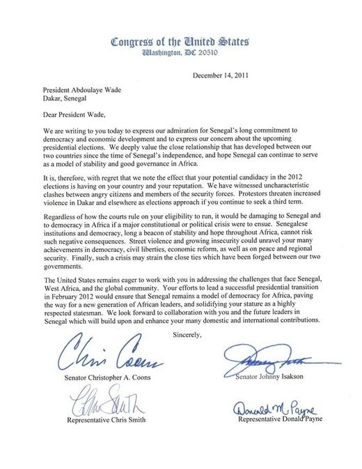 Les américains ferment la porte aux émissaires de Wade [ Document Preuve]