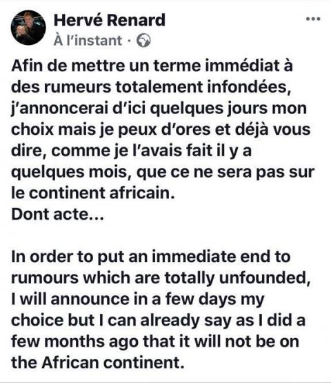 Hervé Renard : « Ma prochaine destination ne sera pas sur le continent africain »