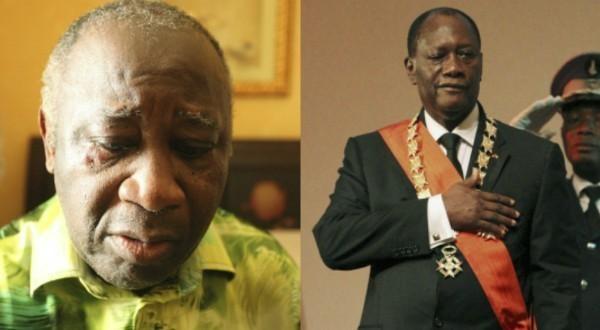(A gauche) Arrestation de Gbagbo à Abidjan, 11 avril, REUTERS/Stringer. (A droite) Investiture de Ouattara, 21 avril, REUTERS/Luc Gnago.