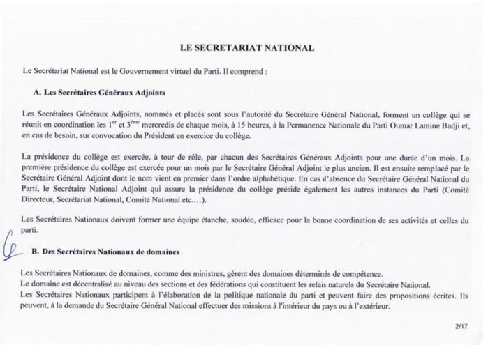 Urgent: Voici la composition du nouveau Secrétariat national du PDS (Documents)