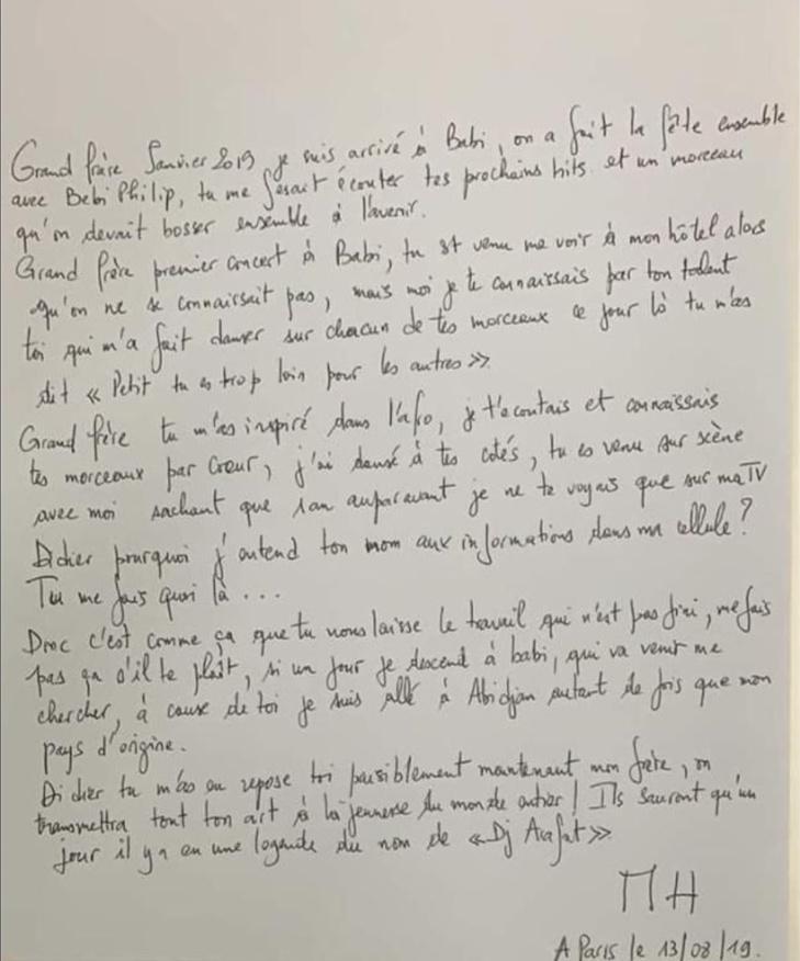 Rappel à Dieu de DJ Arafat: La lettre poignante de MHD depuis sa cellule, fait pleurer